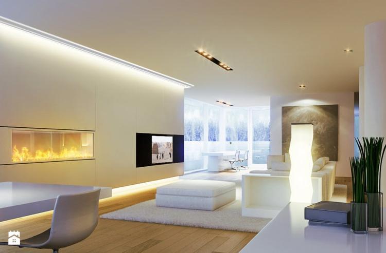 eclairage indirect plafond salon avec profilé alu led
